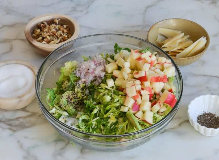 Brussels Sprout Salad with Apples, Walnuts & Parmesan Photo 4