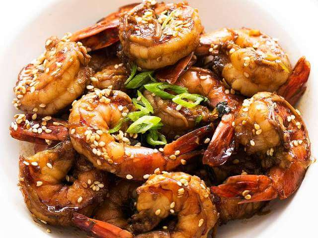Shrimps with Garlic, Ginger and Sesame