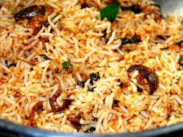Indian Vegetarian Rice Recipe - Vangi Bhath Photo 7
