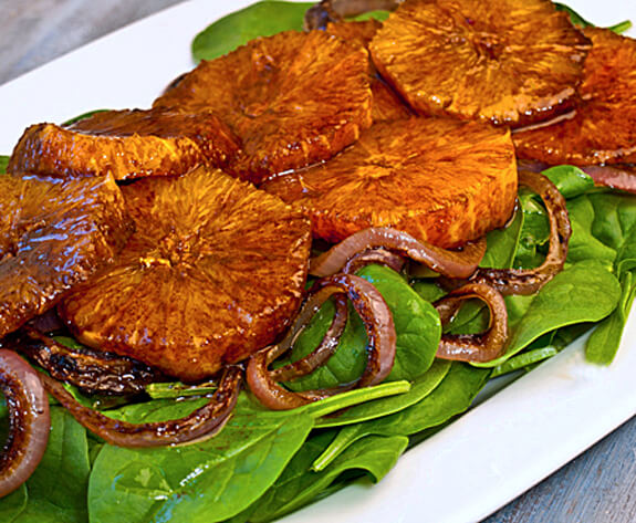 Oranges, Caramelized Red Onions and Baby Spinach in Balsamic Vinaigrette