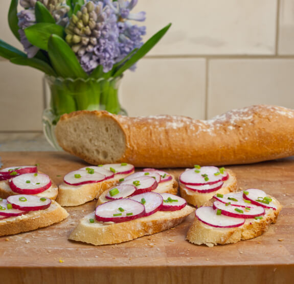Sliced Baguette with Butter, Radishes & Sea Salt Photo 1