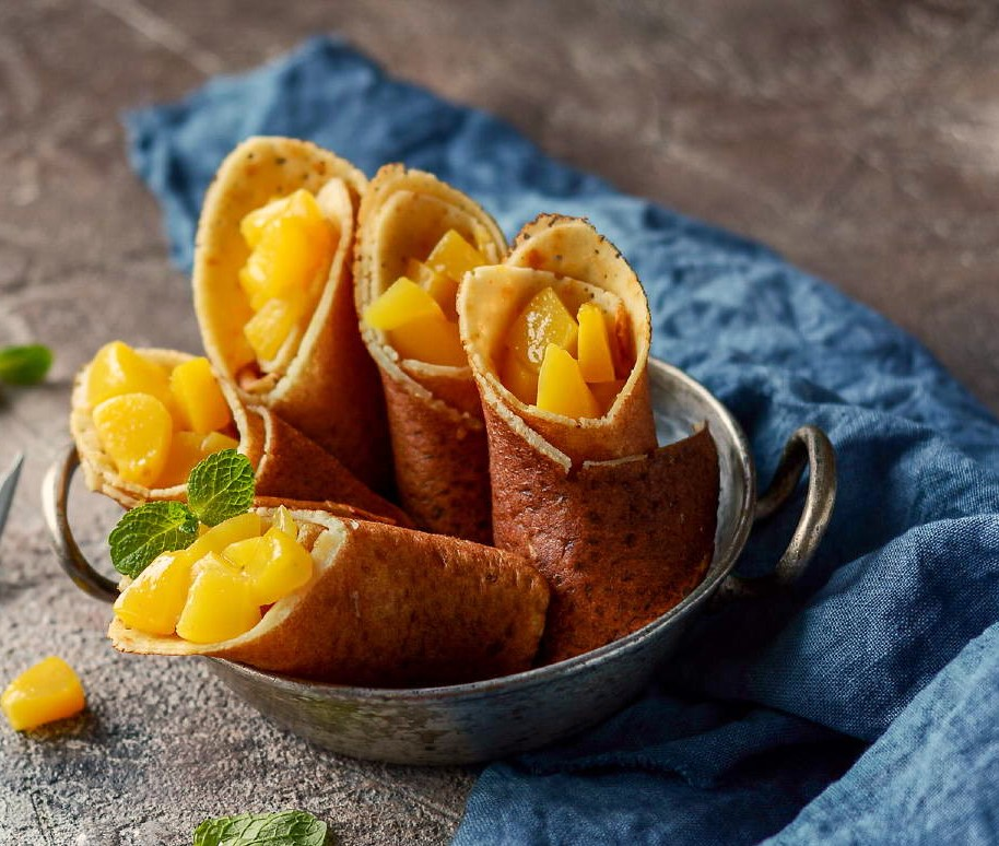Healthy Corn and Rice Pancakes with Peaches Photo 1