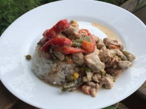 Turkey Recipe with Vegetables in a Creamy Sauce