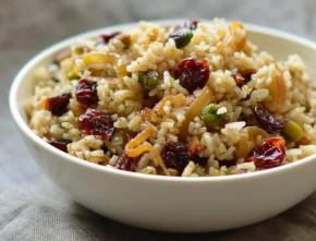 Rice Pilaf with Caramelized Onion, Orange, Cherry & Pistachio
