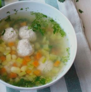 Vegetable Soup with Turkey Meatballs in a Slow Cooker